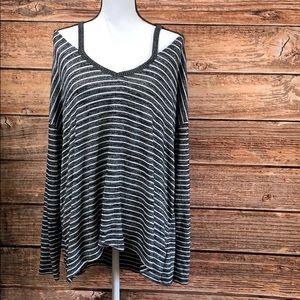 Gap• Long Sleeve Striped Cold Shoulder Shirt